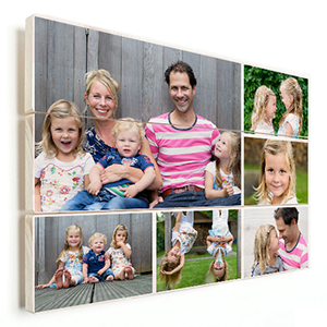 familie fotocollage op vurenhout