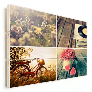 vintage fotocollage op hout