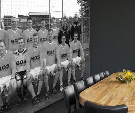 Teamfoto op behang