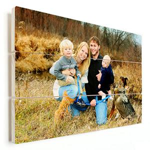 gezinsfoto herfst op hout afgedrukt