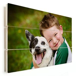 kinderfoto met hond op hout