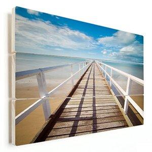 foto strand op hout gedrukt