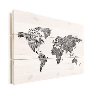 wereldkaart vingerafdruk op hout