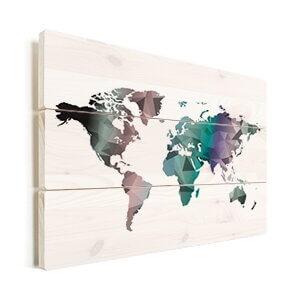 wereldkaart kleur op hout