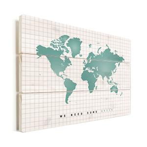wereldkaart mintgroen op hout