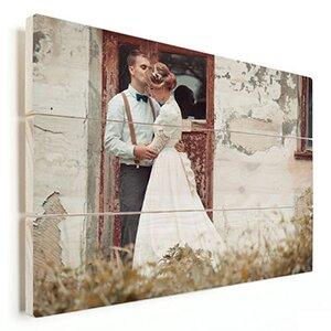 huwelijksfoto op hout